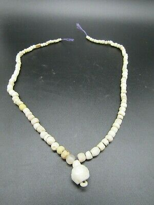 100+ Romano Egyptian white stone beads on sting, 2000 years old
