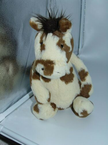 "Jellycat London Plush Horse Pony Bashful Pinto 12"" Cream and Brown"