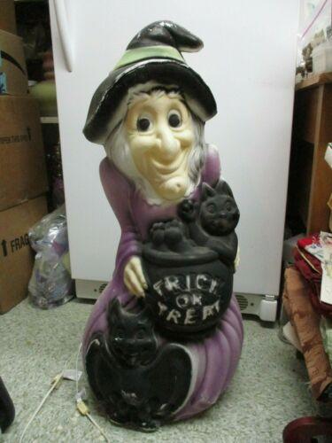 Vintage Lighted Blow Mold Halloween black & purple Witch w/ Cat & Bat