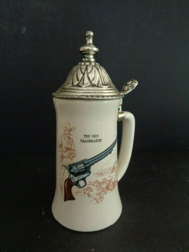 Vintage The Colt Peacemaker stein or lidded mug Hyalyn Pottery USA