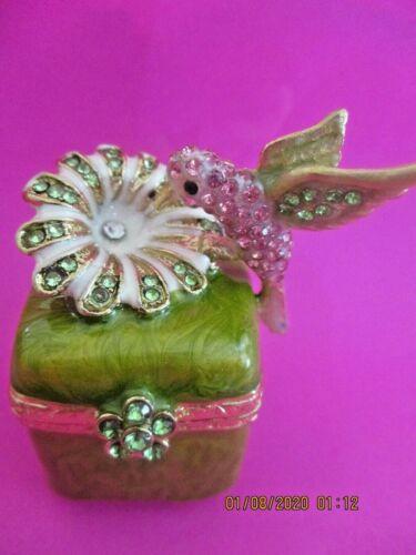 HUMMINGBIRD ~ PRETTY IN PINK ~  JEWELED & ENAMEL TRINKET BOX     3247