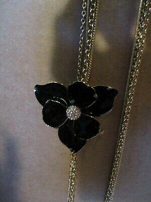 AVON Floral Accent Multi-Strand Necklace-Enamel-Like Details & Faux Stones BLACK Faux Accent Stones
