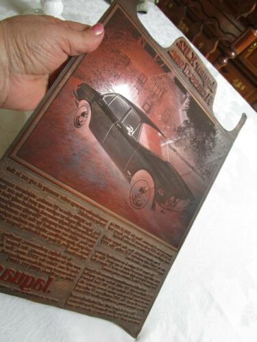 Vintage Rare Copper Newspaper Printing Plate Advertising Jaguar Very Good