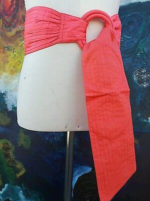 SALMON SILK WIDE HIGH WAISTED belt costume, BURNER SASH? VNTG fashion 70s nwt