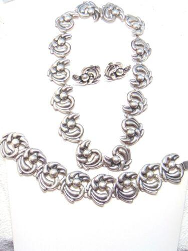 Sterling Silver Signed Taxco Necklace Bracelet Earrings Set