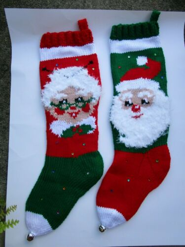 VINTAGE PAIR HAND KNITTED SANTA FUZZY BEARD&MS CLAUS FUZZY HAIR XMAS STOCKING