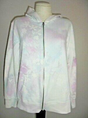 Florale Fleece Hoodie (SONOMA Pastel Floral Print Zip Front Non Fleece Hoodie Jacket Sz L)