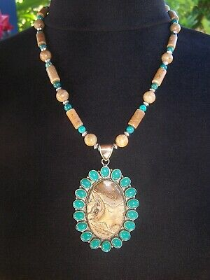 HUGE Southwestern Silver Turquoise Picture Jasper Cluster Bead Pendant -