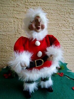 DEPT 56 BREWSTER SANTA'S ELF HELPER FELT OUTFIT FAUX FUR TRIM FIGURE XMAS DOLL  - Santa Elf Outfit