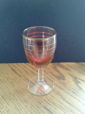 1960s Vintage glass ideal gin glass cranberry colour set of 6 no chips