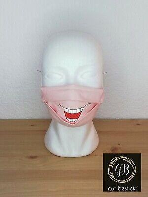 Kinder Mundschutz, Maske, Behelfsmaske, lachender Mund, Grinsen, waschbar rosa