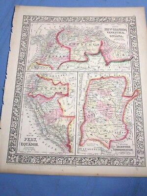 1865 Colored Map - Venezuela, Guiana, Peru, Equador, Argentine Federation