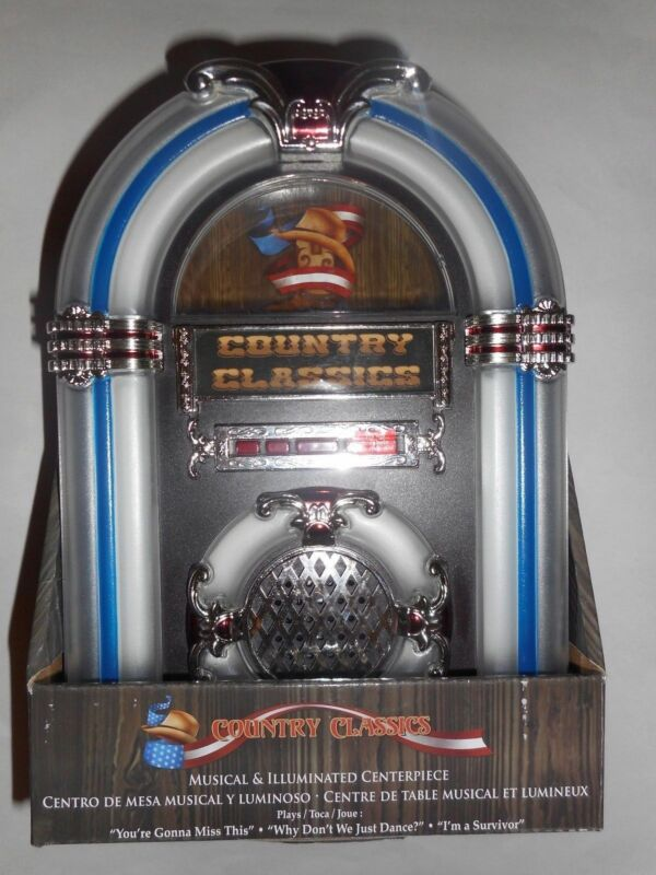 Country Classics Musical and Illuminated Centerpiece Jukebox Plays 3 Songs New