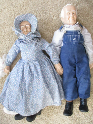 """Vintage old man and old lady dolls Bib overalls Real features Wedding Rings -24"""""""