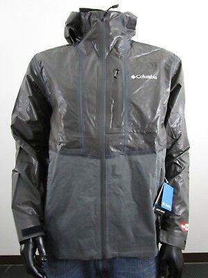 Mens Columbia Outdry Explorer Hooded Hybrid Waterproof Rain Jacket NWT - Black -