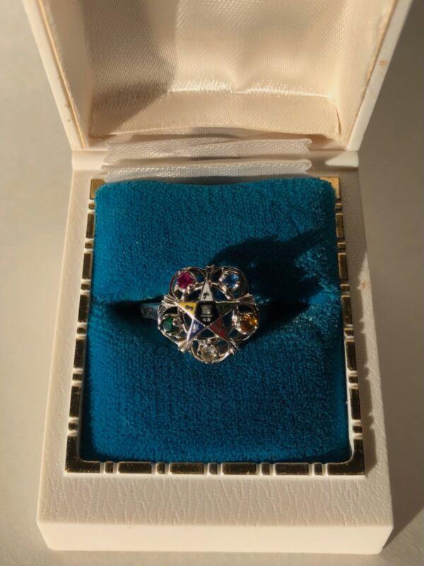 Order of the Eastern Star Masonic Ring - 10K White Gold - Size 7