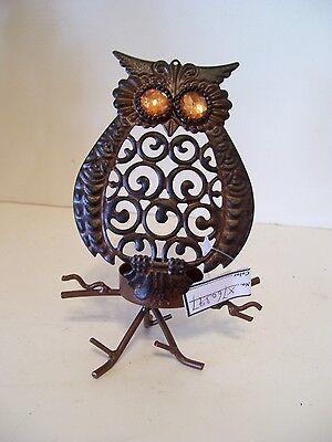 Halloween Treat Gift Baskets (BROWN METAL OWL VOTIVE CANDLE HALLOWEEN TRICK TREAT DECORATION FALL)