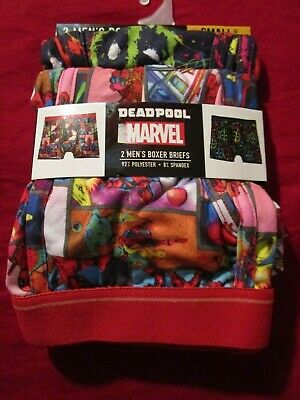 "2 Pair Mens Marvel Deadpool Ultra Soft Boxer Briefs Small 28""-30"""