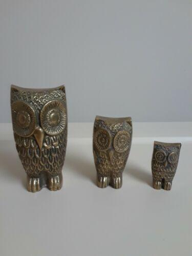 Vintage Brass Owl Set of 3 Paperweight Figurines Bird Mid Century Decor Gift
