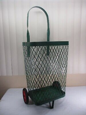Vintage Green Metal Rolling Market Grocery Shopping Basket Cart Caddy C.1940s