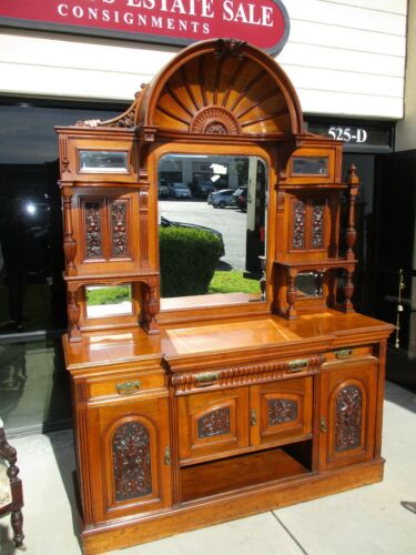 *SALE* 19TH CENTURY WALNUT VICTORIAN EDWARDIAN CARVED SIDEBOARD W/ BONNET TOP