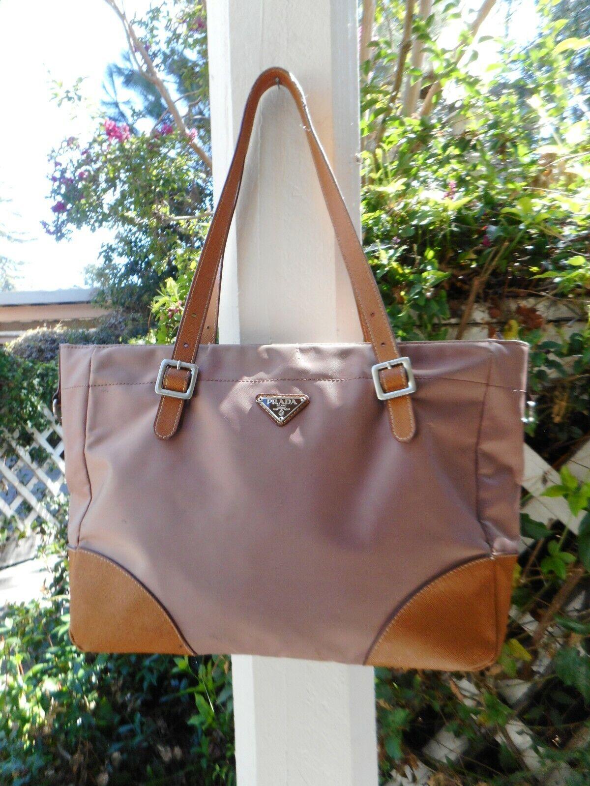 PRADA Womens Nylon Medium Tote Shoulder Bag