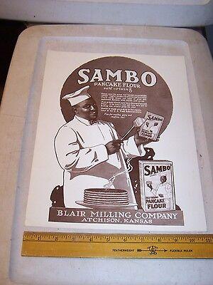 Reproduction SAMBO Pancake Flour Ad / Sign Blair Milling ATCHISON KANSAS
