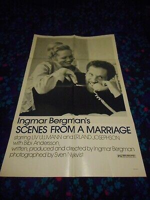 SCENES FROM A MARRIAGE - ORIGINAL FOLDED POSTER - 1973 - BERGMAN/ULLMAN - $50.00