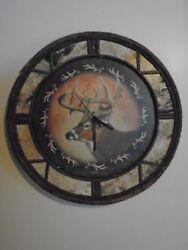 Rustic Wall Clock Birch Twig Quartz Wood Cabin Lodge Northwood Canvas Deer Face