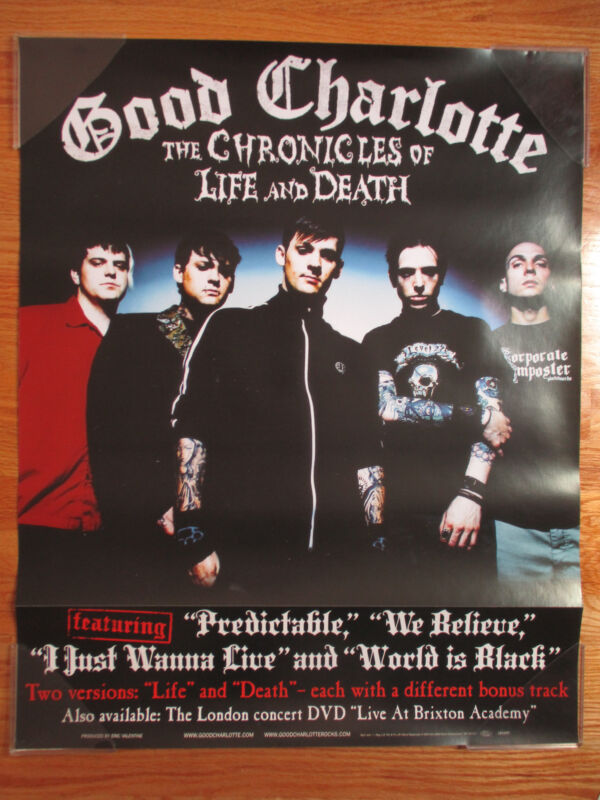 """2004 GOOD CHARLOTTE """"The Chronicles Life & Death"""" Concert Tour Poster"""