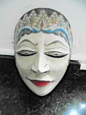 Vintage traditional Far East Female wooden painted face mask. Brilliant mask.