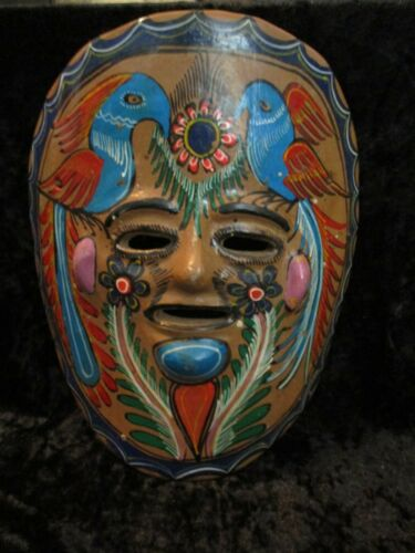 Vintage Mexican Folk Art Pottery Clay Hand Painted Wall Hanging Mask w/2 Birds