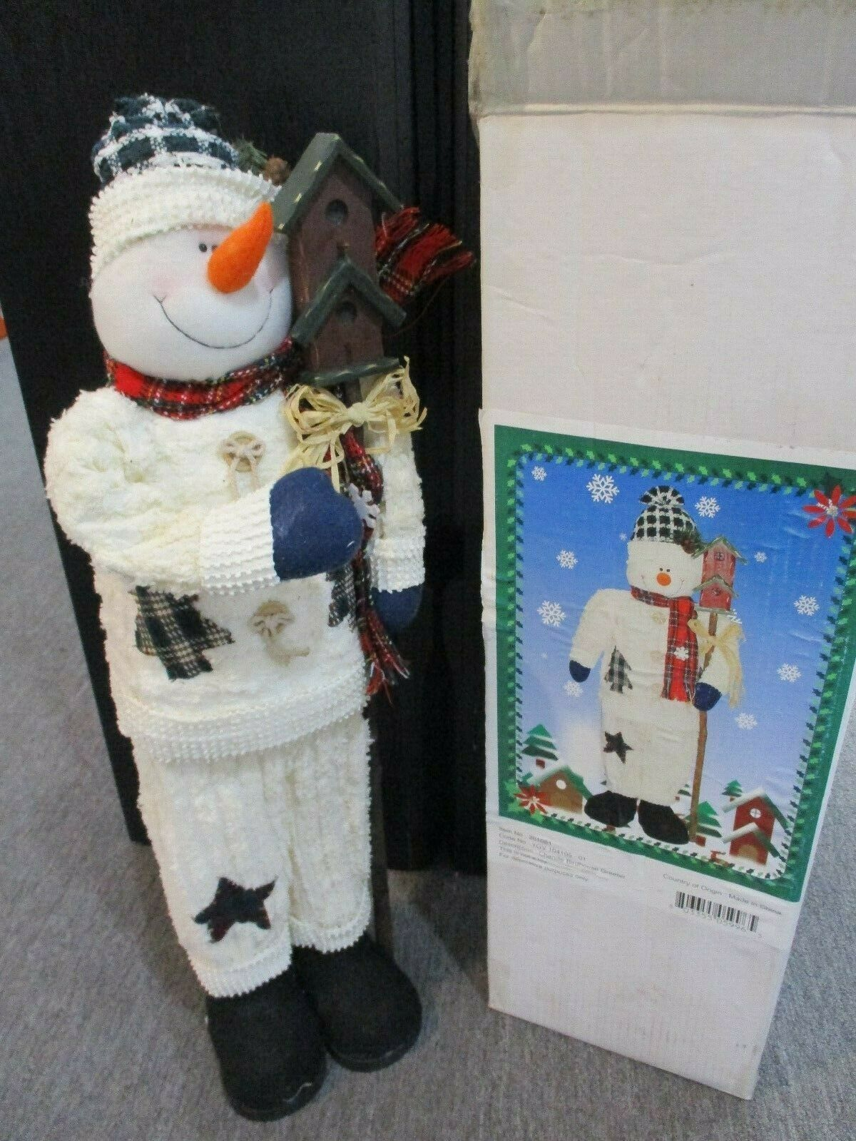"""30"""" Decorative Chenille Standing Snowman Greeter With Birdhouse New In  Box"""