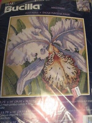 Bucilla Orchid Needlepoint Pillow Picture Kit Barbara Baatz 4830 -