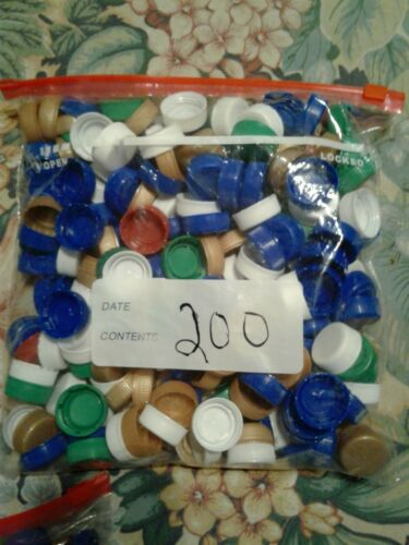 MIXED 200 PLASTIC BOTTLE CAPS