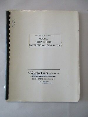 Wavetek Models 1001a To 1005 Sweepsignal Generator Instruction Service Manual
