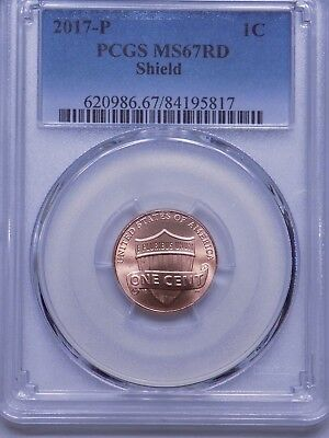 2017 P Lincoln Shield Cent  Pcgs Ms67 Red  Very Nice