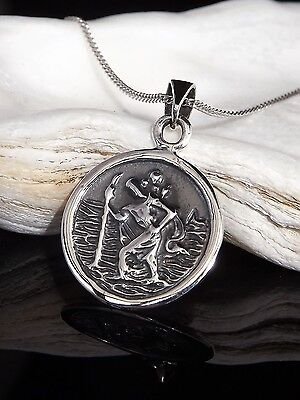 Sterling Silver 925 St Saint Christopher Pendant 18 20  Necklace Chain Gift Box