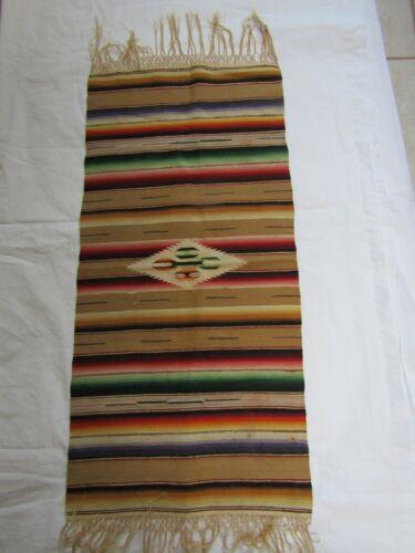 "Vintage Wool Mini Serape Mexican Saltillo Southwestern 14"" x 35"""