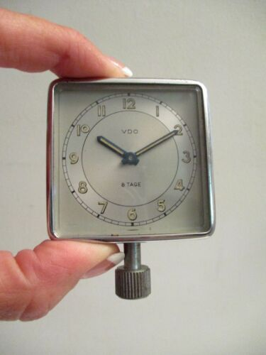 Vintage German Car Clock Wind Up VDO Square Crystal Face Porsche VW Mercedes