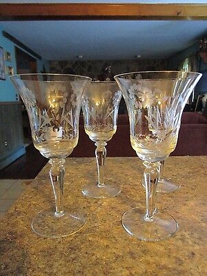 "Set of 4 Crystal Etched Floral Clear Glass Water Wine Goblets 7-3/4""  - SSHLOT"