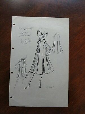 Vintage Fashion Stat Sheet 1950s-60s PIERRE CARDIN Dress and long vest