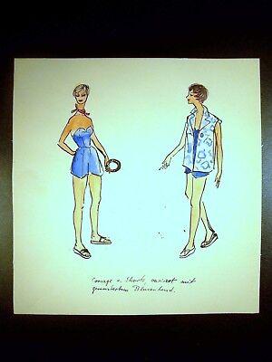 Beach Fashion 1946-1959 Original Watercolor Sketch By C. Schattauer Kelm