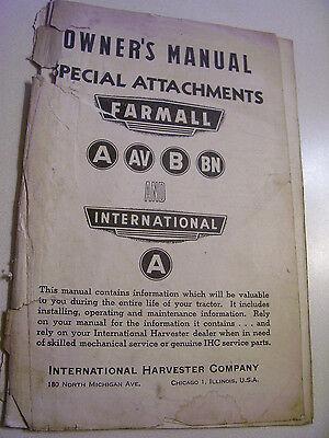 Vintage Mccormick  Ihc Operators  Manual Special Attachments   A   B Tractor