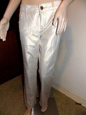 ZD Junior's Size 13 98% Cotton 2% Spandex Gold Metallic Skinny Jeans ()