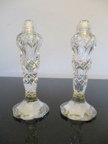 "Vintage Bohemian 5-7/8"" Tall Cut Crystal Salt & Pepper Shakers w/ Glass Lids!"