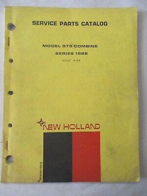 New Holland Model 975 Series 1968 Combine Service Parts Catalog Issue 4-68