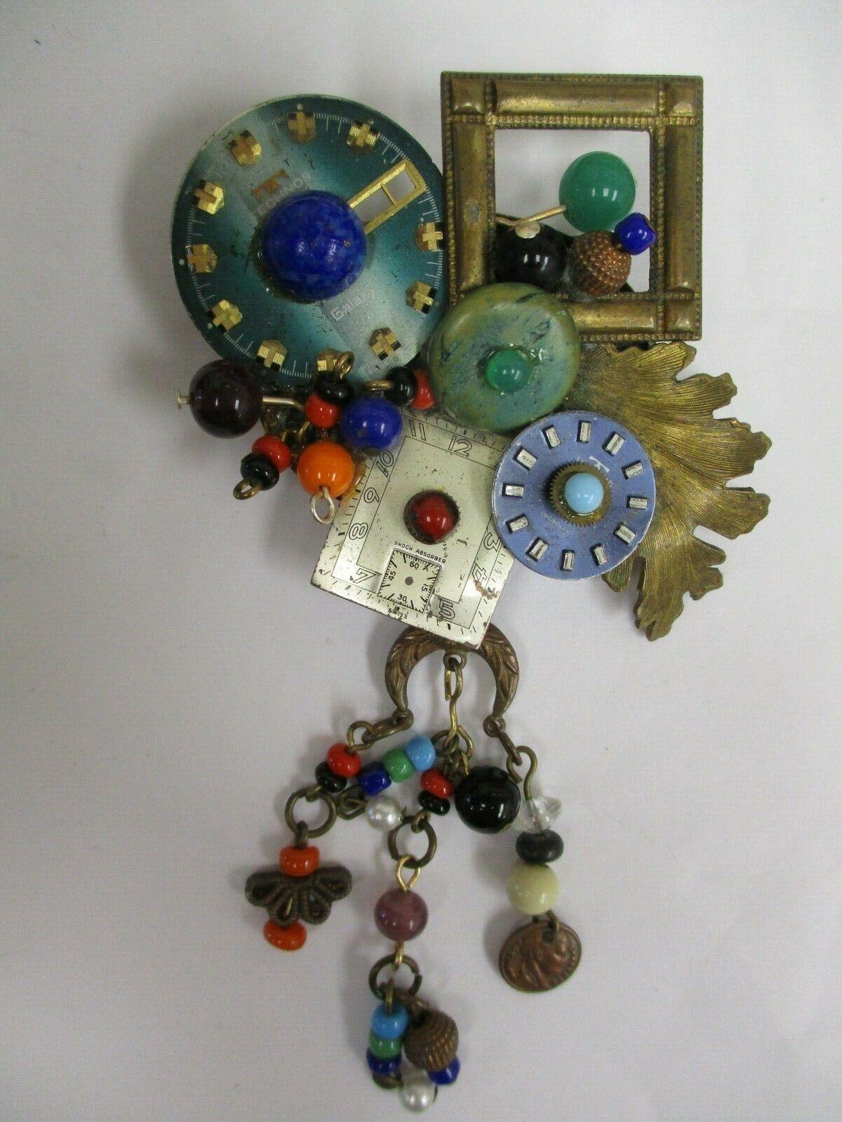 Vintage Unusual Clock Collage Brooch Pin