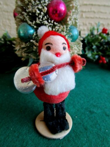 VINTAGE LRG SPUN COTTON ELF/GNOME HOLDING SILVER PAPER GUITAR CHRISTMAS ORNAMENT