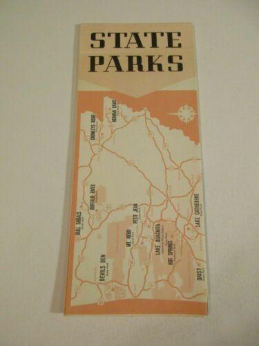 Vintage State Parks Arkansas Vacation Info Travel Brochure Pamphlet & Map~BoxP5